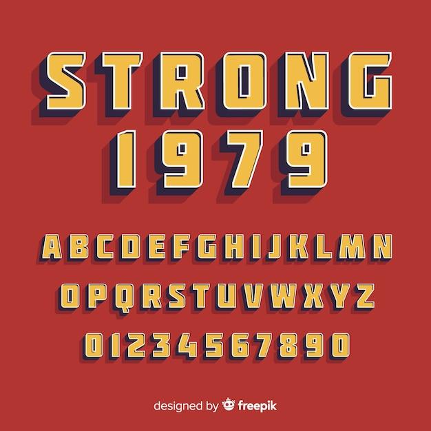 レトロなスタイルのアルファベットとフォント 無料ベクター
