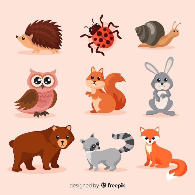 Плоская осенняя лесная коллекция животных Бесплатные векторы