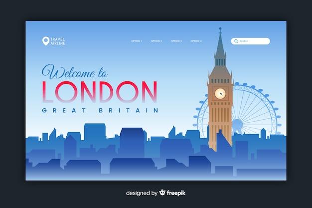 ロンドンのランディングページテンプレートへようこそ 無料ベクター