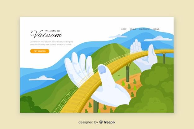 Добро пожаловать в шаблон целевой страницы вьетнама Бесплатные векторы