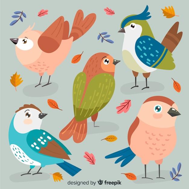手描き秋の鳥のコレクション 無料ベクター