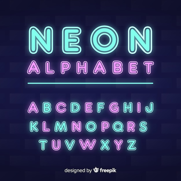 装飾的なアルファベットのテンプレートネオンスタイル 無料ベクター