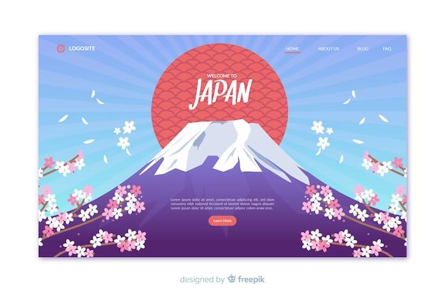 Добро пожаловать в шаблон целевой страницы японии Бесплатные векторы
