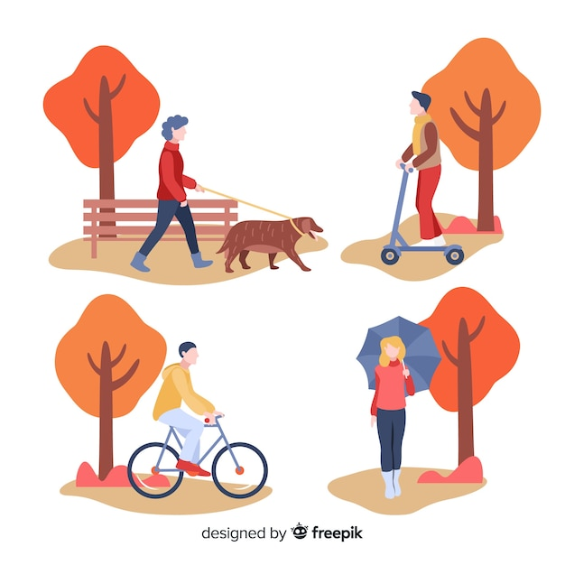 秋のコレクティブで歩く人 無料ベクター