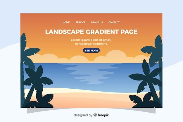 風景とようこそランディングページテンプレート 無料ベクター