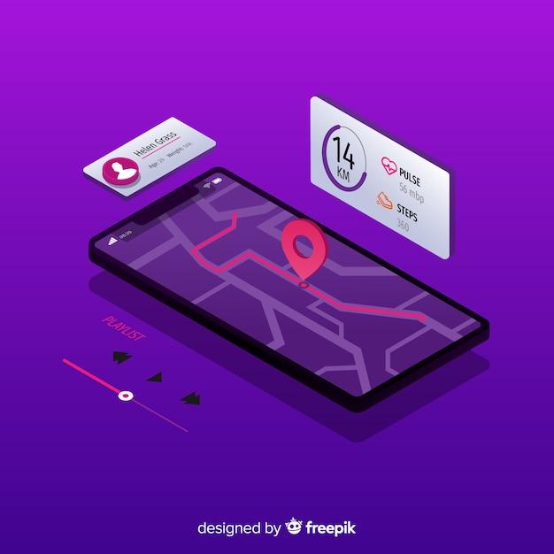 Изометрические работает мобильное приложение инфографики Бесплатные векторы