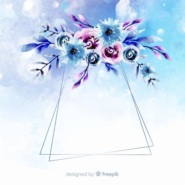 水彩花柄幾何学的フレームの背景 無料ベクター