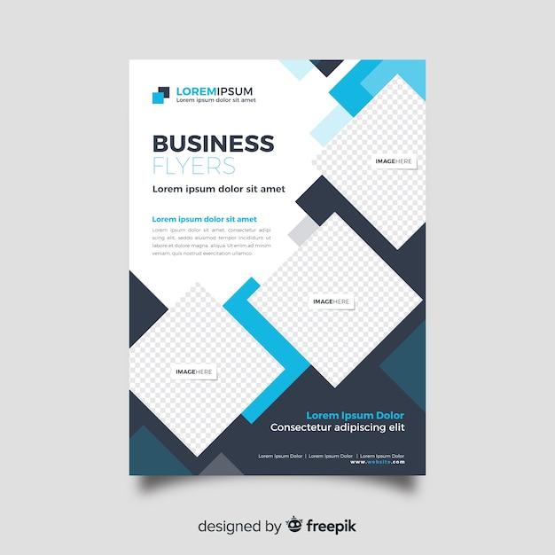 Абстрактный бизнес флаер шаблон плоский дизайн Бесплатные векторы