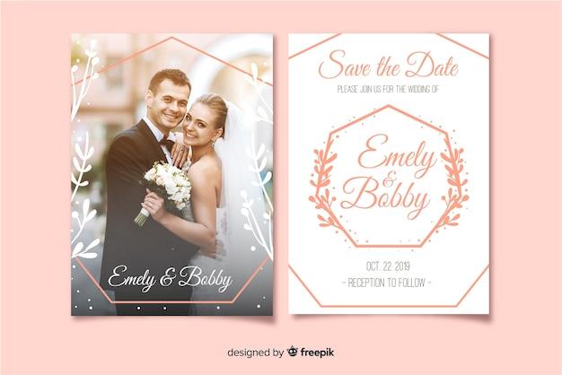 写真付きの結婚式の招待状のテンプレート 無料ベクター