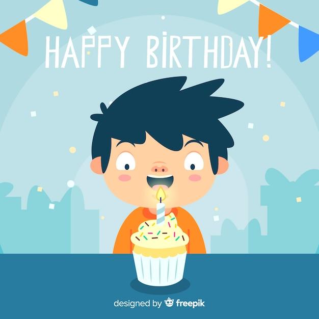 Плоский дизайн с днем рождения фон Бесплатные векторы