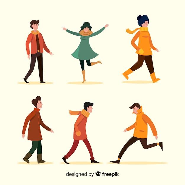 秋のフラットなデザインで歩く人 無料ベクター