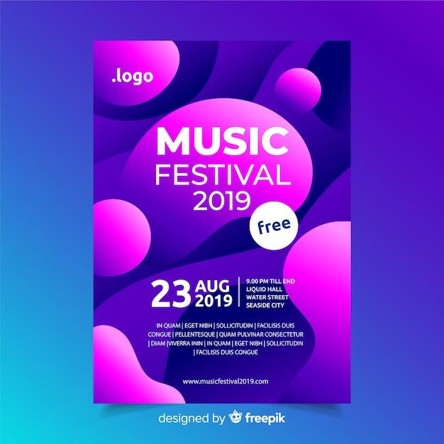 Шаблон плаката музыкального фестиваля с эффектом жидкости Бесплатные векторы