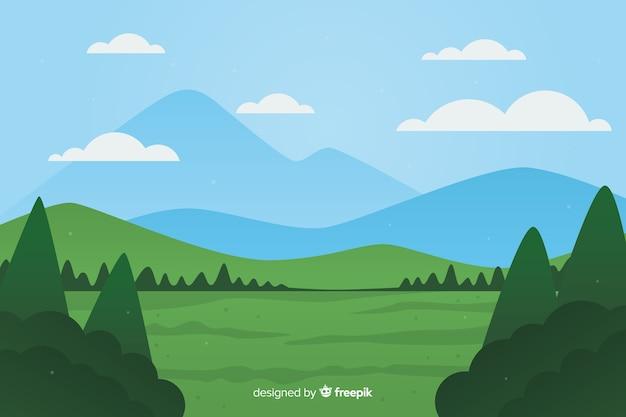 Плоский естественный фон с ландшафтом Бесплатные векторы