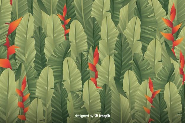 葉を持つシンプルな緑の背景 無料ベクター