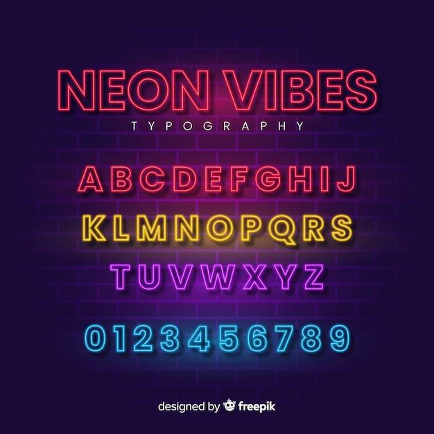 Декоративный шаблон алфавита неоновый стиль Бесплатные векторы