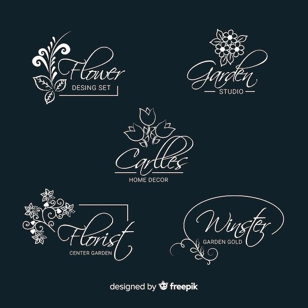 結婚式の花屋のロゴのテンプレートコレクション 無料ベクター