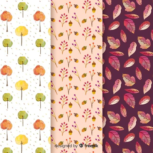 水彩秋パターンコレクションの葉 無料ベクター