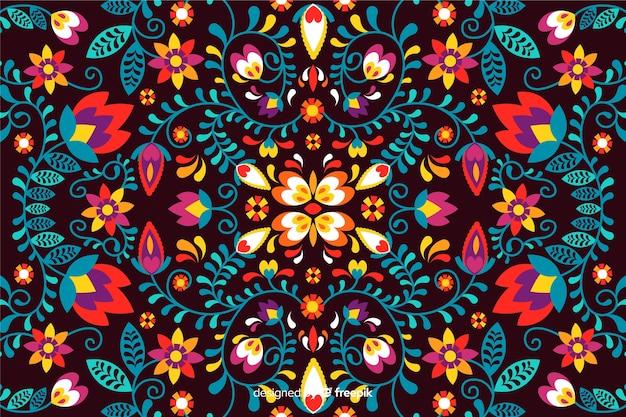 Мексиканский цветочный фон вышивки Бесплатные векторы