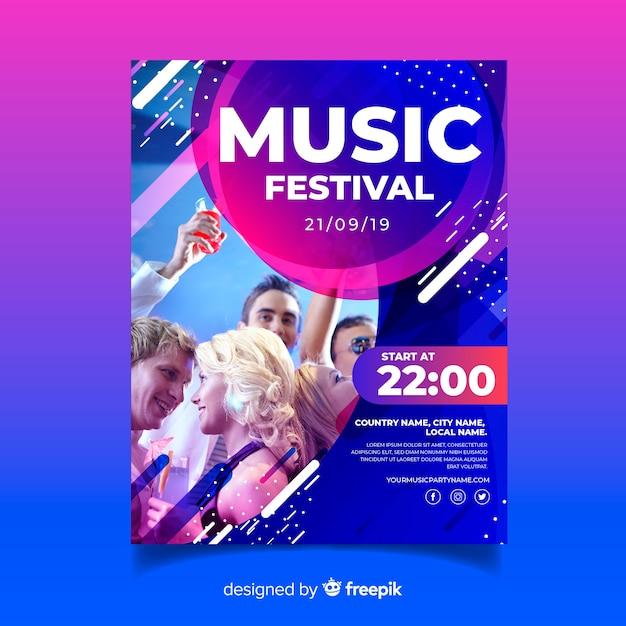 Абстрактный красочный музыкальный плакат шаблон с фотографией Бесплатные векторы