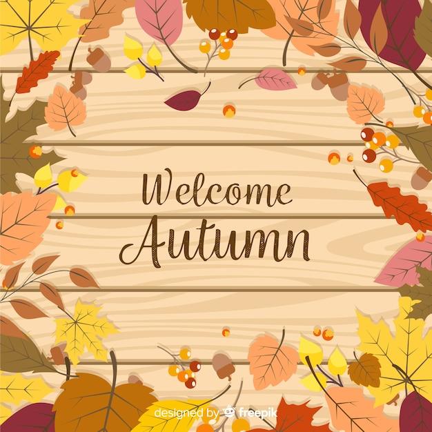 平らな秋の背景の葉 無料ベクター