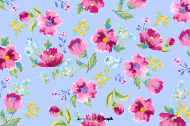 Яркие расписные цветы декоративный фон Бесплатные векторы