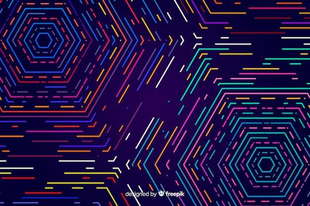 カラフルな幾何学的なネオン図形の背景 無料ベクター