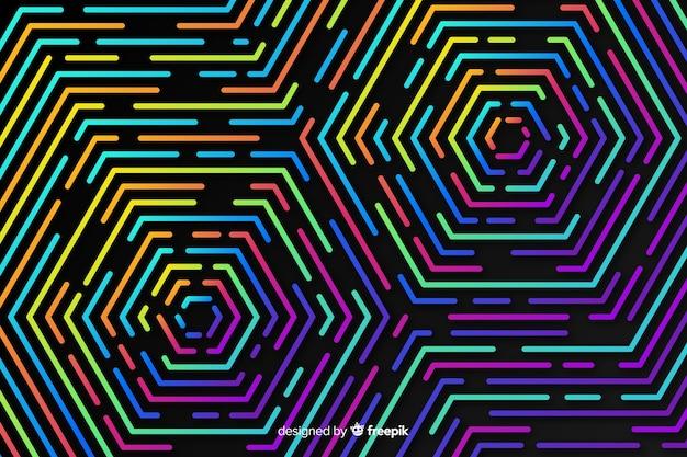 Красочные геометрические неоновые фигуры фон Бесплатные векторы