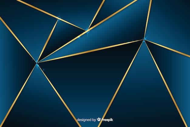 ゴールデンラインと暗い多角形の背景 無料ベクター