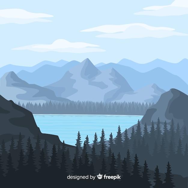 風景と平らな自然の背景 無料ベクター