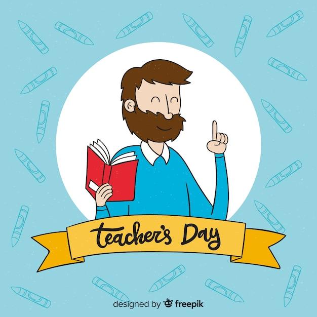 手描きの世界の先生の日の背景 無料ベクター