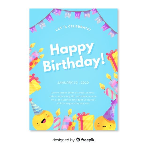 水彩風の誕生日の招待状のテンプレート 無料ベクター