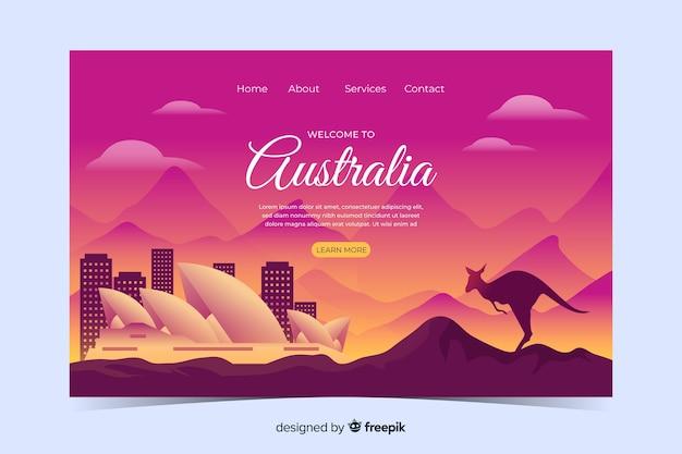 オーストラリアのランディングページテンプレートをランドスケープにようこそ 無料ベクター