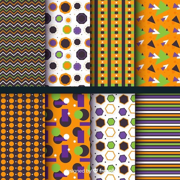 平らな幾何学的なハロウィーンパターンコレクション 無料ベクター