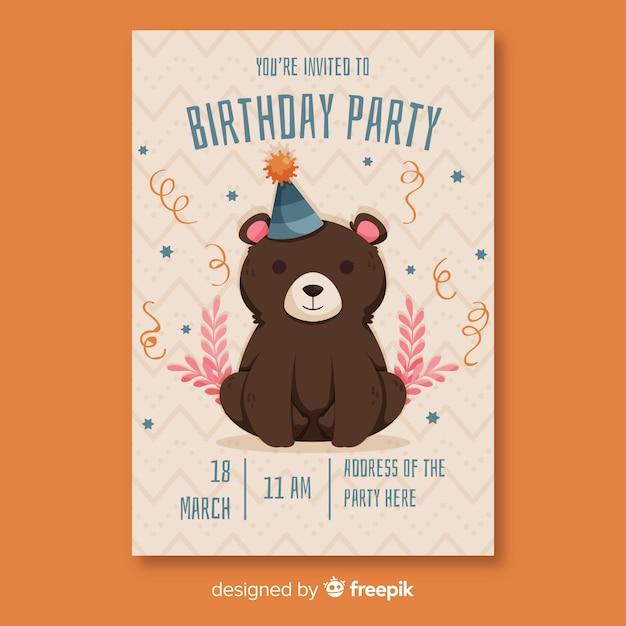 フラットデザインの誕生日の招待状のテンプレート 無料ベクター