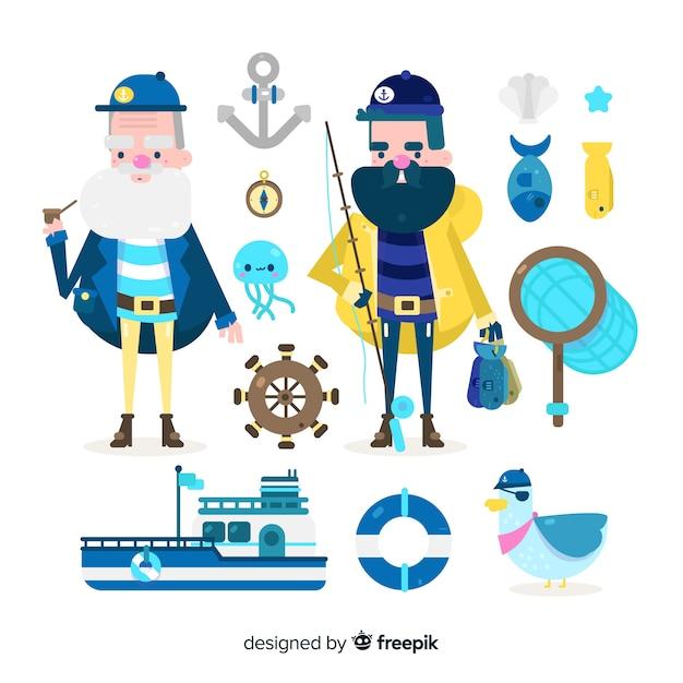 Коллекция морских персонажей и элементов Бесплатные векторы