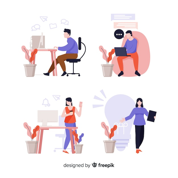 Иллюстрация людей, работающих в офисе Бесплатные векторы