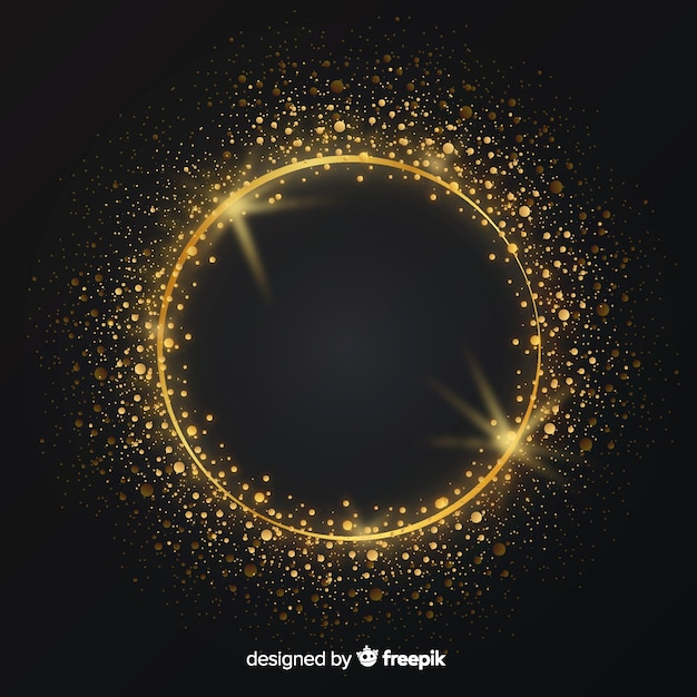 Роскошный фон с золотой сверкающей рамкой Бесплатные векторы