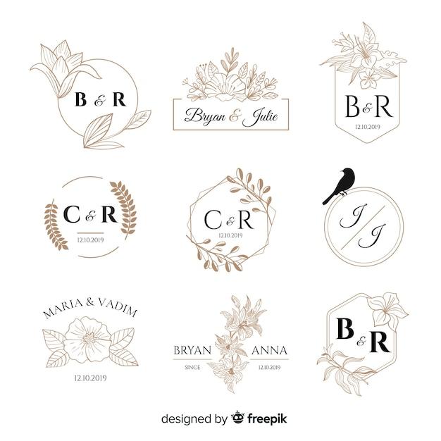結婚式のモノグラムのロゴのテンプレートコレクション 無料ベクター