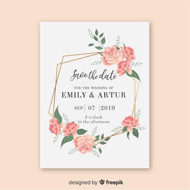 Шаблон свадебного приглашения с цветочной рамкой Бесплатные векторы