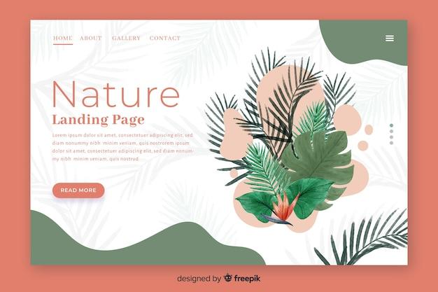 Нарисованный рукой шаблон целевой страницы природы Бесплатные векторы
