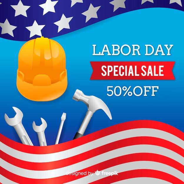 現実的な労働日セールの背景 無料ベクター