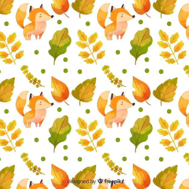 動物と水彩の秋の背景 無料ベクター