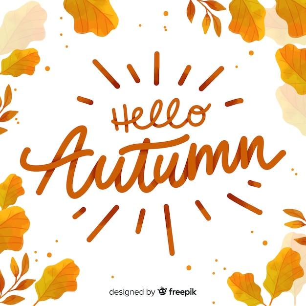 こんにちは秋の背景書道スタイル 無料ベクター