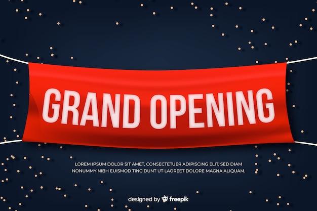 現実的なスタイルのグランドオープンバナー 無料ベクター
