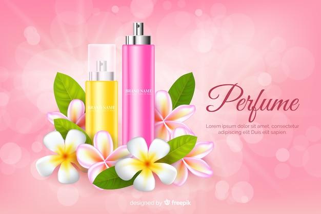 花とリアルな香水広告 無料ベクター