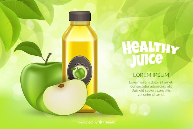 リアルなスタイルの天然ジュース広告 無料ベクター