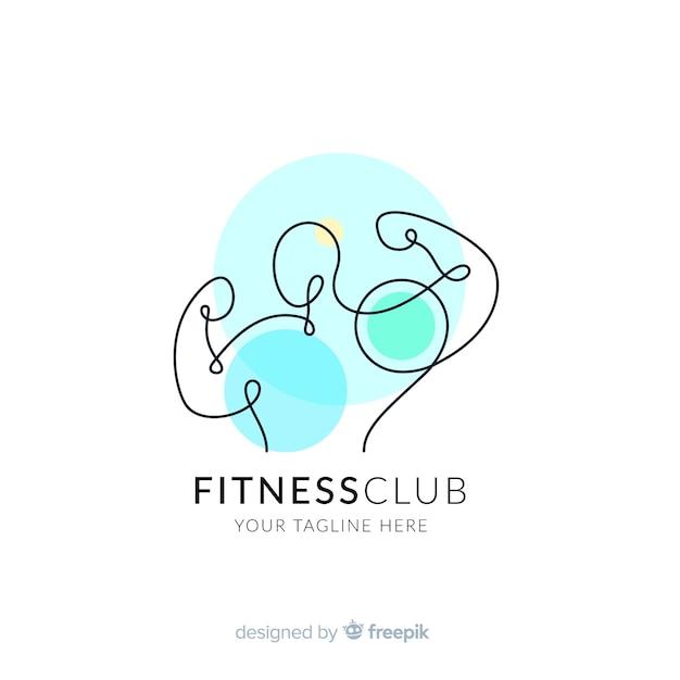 Шаблон логотипа фитнес с абстрактными формами Бесплатные векторы
