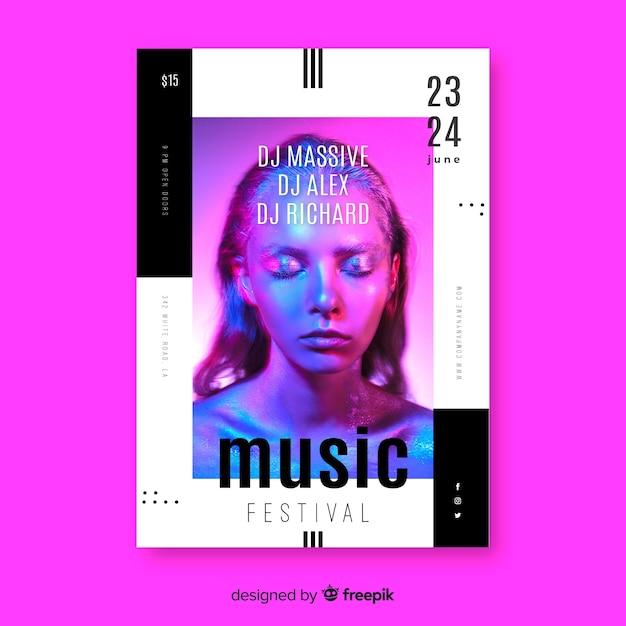写真と抽象的なカラフルな音楽ポスターテンプレート 無料ベクター