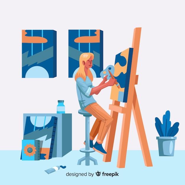 Иллюстрация художников за работой Бесплатные векторы