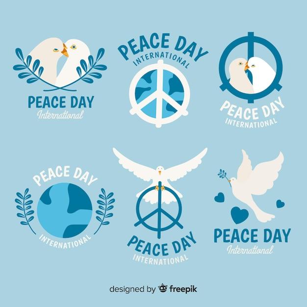手描きの平和の日のラベルのコレクション 無料ベクター